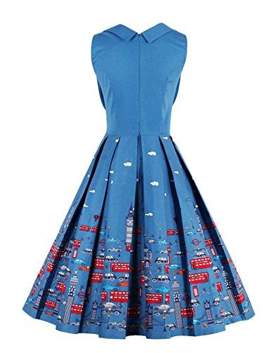 VKStar Vintage 50er Stoffdruck Cocktailkleid ärmellos Abendkleid Retro Swing Rockabilly Ballkleid Blau 3XL - 2