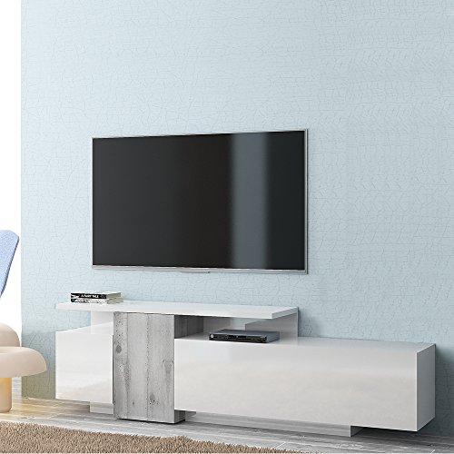 Tuoni Sirio Madia Porta TV, Legno Lucido, Bianco/Cemento