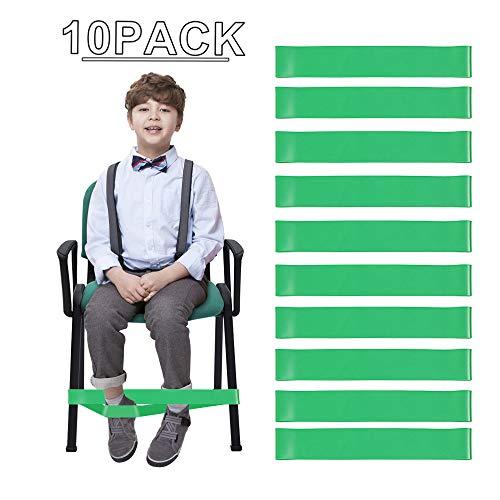 Price comparison product image YANSEN LOAZRE Kick Bouncy Fidget Bands Resistance Chair Bands-Improve Focus Attention Primary Schools' School Chair Treatment Children Autism ADHD ADD SPD. (10 Pack)