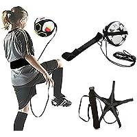 Fútbol Kick entrenador de fútbol práctica de pelota de fútbol, correa de entrenamiento ajustable de asistencia deportiva fútbol entrenador de práctica, color negro, tamaño Tamaño libre