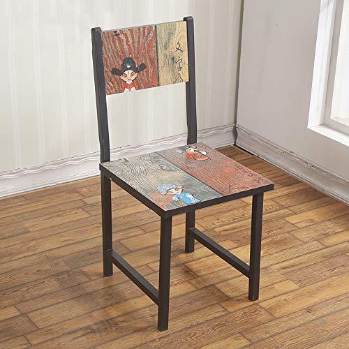 Ygetas Vintage Persönlichkeit Muster Dinette Peking Oper Maske Art Dinette Home Restaurant Mode Rückenlehne Stuhl Hotel Studie Schlafzimmer Solide und langlebig Holzstuhl (Color : Peking Opera)