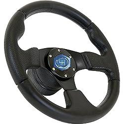 Volante 330 mm (33 cm) diámetro, Zona de agarre especial negro / Alta calidad produce / Negro / Deporte Diseño Italiano