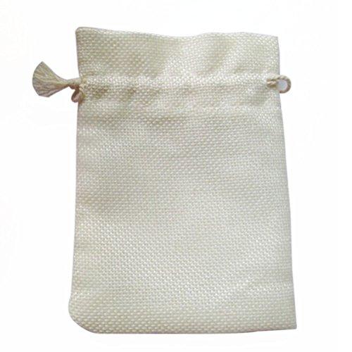 l Sackleinen Leinen Jute Tasche Schmuck Beutel Zugband Geschenktüten Organzabeutel Säckchen Beutel - 10 Stücke (Weiße Beute Beutel)