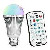 Coidak CO816 RGB LED Farbwechsel Glühbirne 6W E27 Dimmbar mit Fernbedienung und Timer, Starkes Signal, Barriere Umgehend, Große Reichweite der 2,4G Fernbedienung (NICHT IR / Infrarot), Dimmbar RGB farbige lampe, Birne mit reinem weißem + farbigem Licht, A60, 1er pack