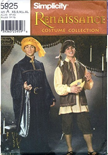 Simplicity Sewing Pattern 5925 Mens Boys Historical Hat Costumes Size XS-XL UC