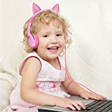 Kids Headphones, iClever BoostCare Volume Limiting Children Headphones Over Ear Cat-Inspired Adjustable Stereo Baby Headphone for Surface iPod iPhone iPad mini iPad Air Tablets PC MP3, Pink