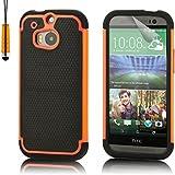 32nd® Funda Rígida Shockproof de Alta Proteccion para HTC One M8 Carcasa Defensora de Doble Capa - Naranja