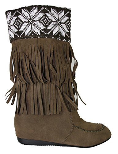 Damen Stiefel Mokassin Stiefelette 10415, dunkel braun - khaki, Gr. (Indianer Mokassin Stiefel)