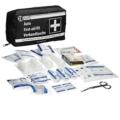 Preisvergleich Produktbild ECD Germany KFZ-Verbandtasche Inhalt nach DIN 13164 Schwarz mit Rettungsdecke ohne Klett Verbandkasten Erste Hilfe Set