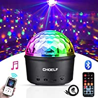 CHOELF Disco lights, Disco Ball Light LED Bluetooth Speaker Party Lights, DJ Stage Lights Lamp and Night light, 9 Colors 7 Modes Projector Strobe Lights, USB Powered, Remote Control Sound Activated