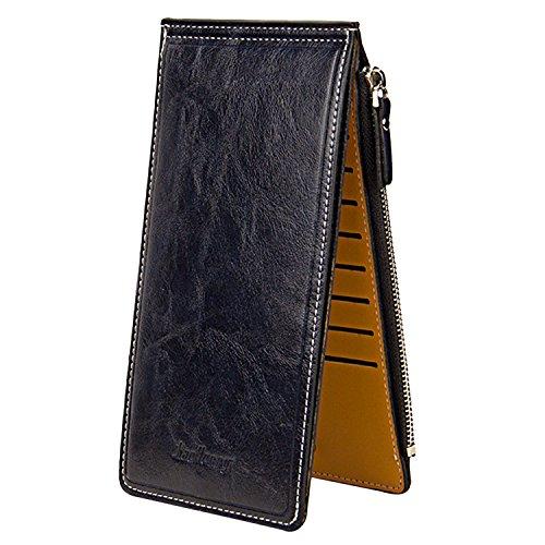Sasairy Portafoglio Donna in Pelle Sintetica Bifold Soldi Lunghi dell'organizzatore Della Borsa Multi Carta di Credito Holder con Pocket Zipper-Rosso Blu
