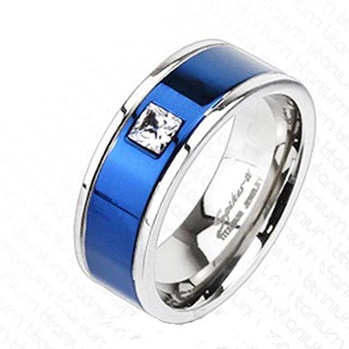 Paula & Fritz® Titan Ring silbern 6 oder 8mm breit Band Ring mit blauem Band und Zirkonia farblos verfügbare Ringgrößen 53 (17) – 69 (22) R-TM3188