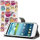 kwmobile Funda para Samsung Galaxy S3 / S3 Neo - Wallet Case plegable de cuero sintético - Cover con tapa tarjetero y soporte Diseño familia de búho en multicolor rosa fucsia blanco