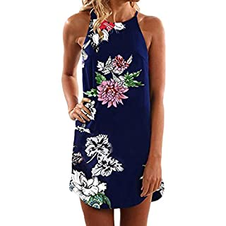 Women's Print Dress, Amlaiworld Vintage Boho Leisure Fashion Summer Round Neck Sleeveless Tank Top Beach Print Splice Short Mini Dress (A Navy, M)