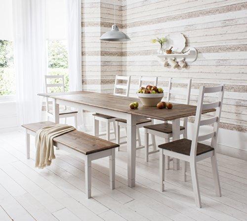 Tisch Canterbury mit 5Stühlen und Bank, ausziehbarer Esstisch mit 2-facher Erweiterung -