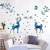 Daadi Die Blauen Elch Silhouette Wall Art Dekorplatte Abnehmbare Sterne in der Deutschen Mauer Aufkleber für Wohnzimmer Schlafzimmer TV Wandhalterung an der Wand.