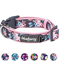 Blueberry Pet Gepolstertes Hundehalsband mit 6 Mustern, weich und bequem, mit Frühlingsrosen, für Mädchen, Halsumfang 36,8-50,8 cm, Verstellbare Halsbänder für Hunde