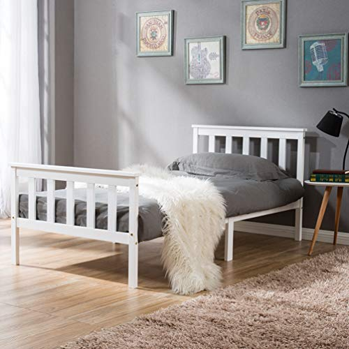 Borlifes 3FT Single Bed Frame for 90 x 190cm Sleeping Mattress Bed Stable Safe Painted Solid Pin Wooden Durable White Slats Platform Assemble Bed with Headboard for Kids Teenagers Adults