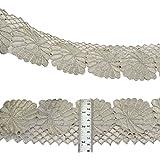 Cinta bordada Frontera floral borde de plata Sari 8,8 cm de ancho Recortar Por The Yard