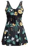 Ecupper Swimsuit Damen Blumen Muster Gepolstert Strand Tankini Badeanzug mit Shorts Bademode Groß Größe, DE(60-62)=Tag5XL, Schwarz Blumen
