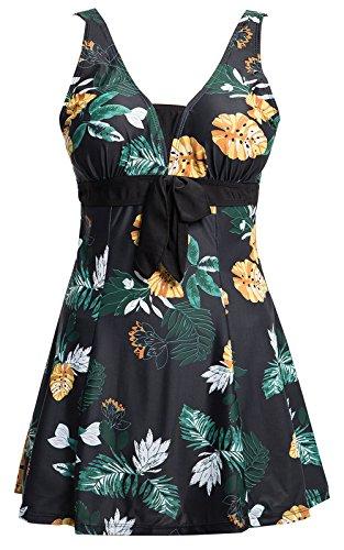 Ecupper Swimsuit Damen Blumen Muster Gepolstert Strand Tankini Badeanzug mit Shorts Bademode Groß Größe, DE(50-52)=Tag2XL, Schwarz Blumen