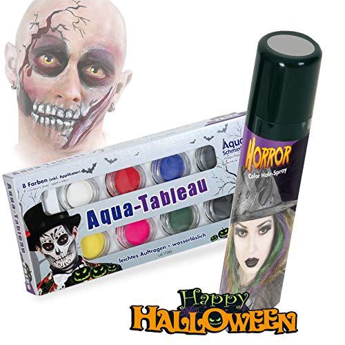 KarnevalsTeufel Halloween Schminkset Aquaschminkfarbe mit Zusatz nach Wahl Theaterschminke Spray (Schminkpalette & Spray ()