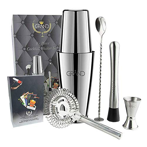 GRAND Cocktailset mit Boston Cocktail Shaker | Ideal für Zuhause oder die Bar | 6er Set Inklusive 50 Cocktail Rezeptkarten auf Deutsch. Premium Barkeeper Cocktailshaker Set. Bar Drink Gläser