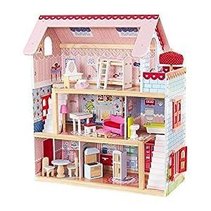 KidKraft 65054 Chelsea Casa de muñecas de madera con muebles y accesorios incluidos, 3 pisos, para muñecas de 30 cm, Multicolor, 3 años+