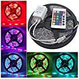 HD HOMES DECOR Waterproof RGB Remote Control Color Changing LED Strip Light, 5 Meter