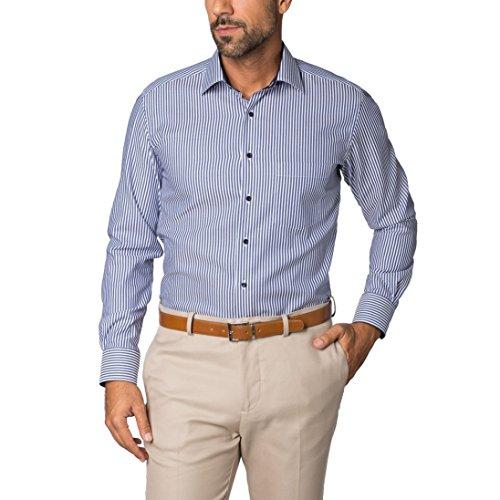 ETERNA long sleeve Shirt MODERN FIT Twill striped blu marino/bianco