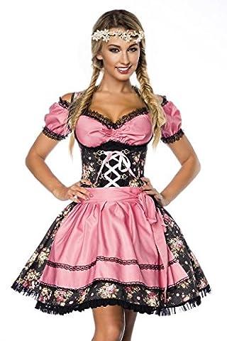 Dirndl Kleid Kostüm mit Bluse und Schürze aus Denim Stoff und Spitze Oktoberfest Dirndl schwarz/rosa S