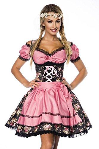 Yourdesignerz - Vestido Dirndl - Camisa - Básico - Sin mangas - para mujer negro / rosa 46