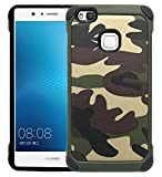 FDTCYDS Carcasa Huawei P10Lite, Premium glamoures–Funda Pegatina para Huawei P10Lite Piel Hoja de Purpurina Carcasa Funda Protector Slim Specials (Camo Verde