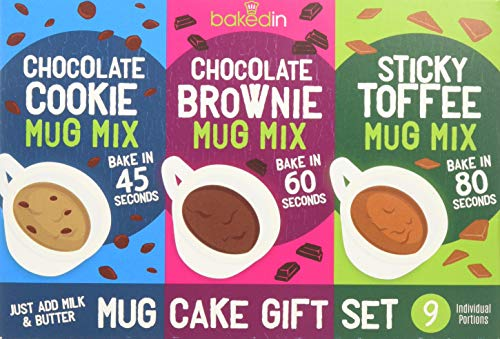 Bakedin Mug Cake Gift Set, 505g - 9 Mug Cake mixes (3 Mug Brownie mixes, 3 Mug Cookie mixes, 3 Sticky Toffee Mug Pudding mixes) - top Quality Ingredients - Belgian Chocolate, Award Winning Flour,