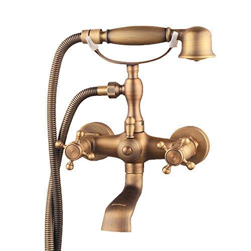 hiendure® Wandhalterung Zwei Griffe Badewanne Wasserhahn mit Handbrause Messing antik Finish Handy Messing