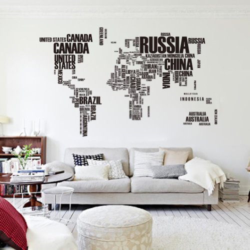 World Map Consists Of Words -Vinyl Wall Lettering Stickers Quotes And Sayings Home Art Decor Decal by POVOS