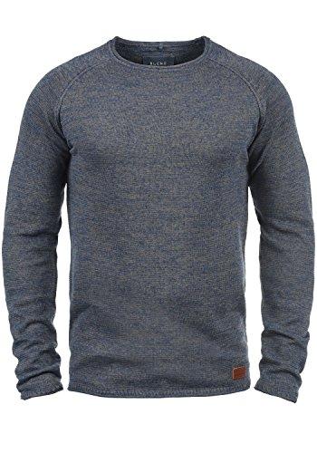 BLEND Dan Herren Strickpullover Rundhalskragen aus hochwertiger Baumwoll- Mischung Meliert, Größe:XL, Farbe:Ensign Blue (70260) (Herren-baumwoll-mischung)