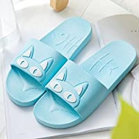 fankou Slippers Women Indoor Summer Anti-Slip Home with Lovely Cartoon Couples Home Bath Bathroom Cool Slippers Male Summer Sky Blue and White Cat,39-40,
