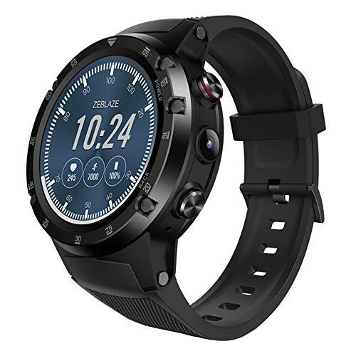 samLIKE Smartwatch für Herren und Damen 4G-Netzwerk Bluetooth Fitness Uhr 丨 1GB+4GB GSM 丨 Blutdruckmessung 丨 Schrittzaehler 丨 GPS-Positionierung 丨 Anrufen/SMS 丨 Kompatibel mit Android/iOS (Schwarz) -
