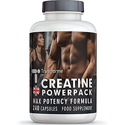 Creatine Monohydrate 4200mg, 40 Servings, Extreme Creatine Supplement with ALA, Zinc, Vitamins D3 & B12, 240 Capsules, Lean Muscle Build, Increase Mass, Gluten Free, No Synthetics, UK Made, Money Back Guarantee, by Transforme from Save on Supplements
