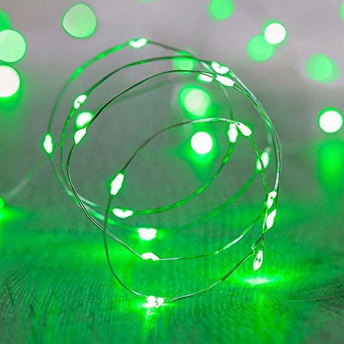 ShareMoon 20er LED-Lichterkette Micro Draht Batterie-betrieben 6.5 Ft/2M, für innen/außen,Mit Batterie (Grün) [Energieklasse - Party-halloween Tv