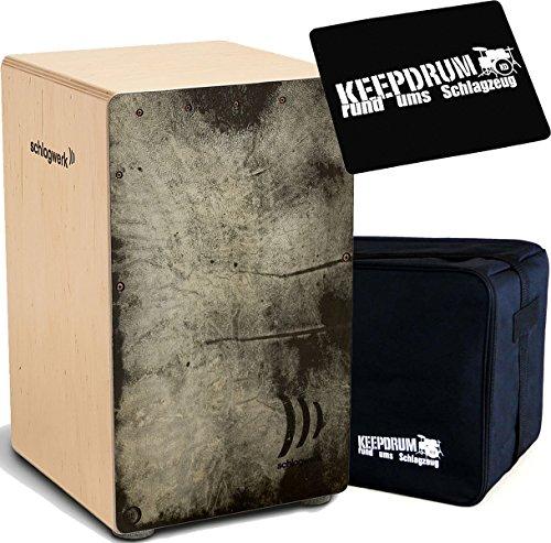 Schlagwerk CP4022 Skinwood Black Cajon + KEEPDRUM Tasche + Sitzpad