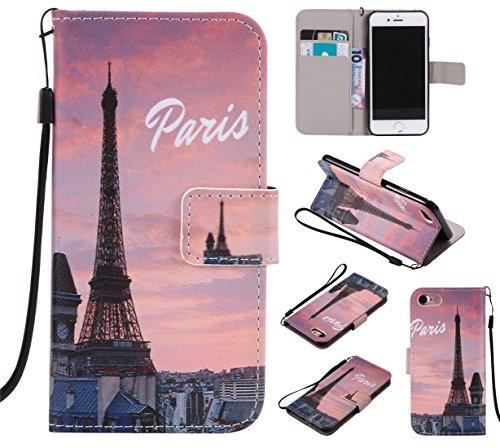 Battery Charging Pod (Nancen Apple iPhone 7 / 8 (4,7 Zoll) Hülle / Handyhülle, Painted PU Leder Tasche Schutzhülle Case Lederhülle Flip Cover mit Standfunktion, zwei Kartenfächer und Eine Brieftasche Etui [Paris])