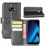 Samsung Galaxy A3 2017 Hülle, Magnetisch Flip Echtleder Kartensteckplätze Brieftasche Stand für Samsung Galaxy A3 2017,Schwarz
