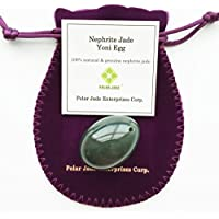 Nephrite Jade Egg, Small Size, Drilled, with Certificate and Instructons, for Experienced and Advanced Users to Train Kegel Muscles to Gain Better Bladder Control to Prevent Urinary Incontinence, or as Beautiful Art to Display