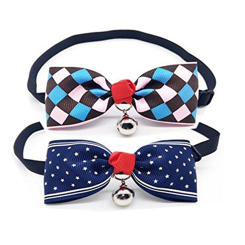 2Stück Sehvermögen Catching Verstellbarer Metall Bell Details Pet Dog Cat Fliege Schleife Halsband (2 Stück Zwei Stück Kostüme)