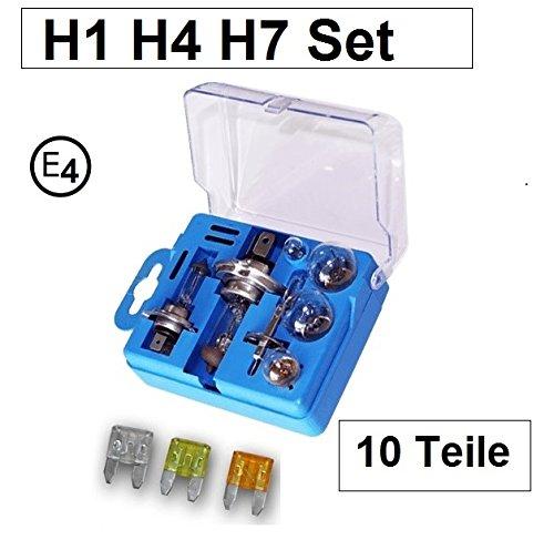10 tlg. Autolampen Box Ersatzbox PKW H1 H4 H7 Lampe Auto Ersatzkasten mit E4