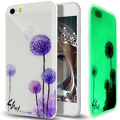Cover iPhone 5S,Cover iPhone SE,Cover iPhone 5,Custodia iPhone SE / iPhone 5S 5 Cover Case,ikasus® Crystal Traslucido TPU luminoso nottilucenti con Colorato dipinta Motivo del fiore per iPhone SE / iP Dente di Leone viola