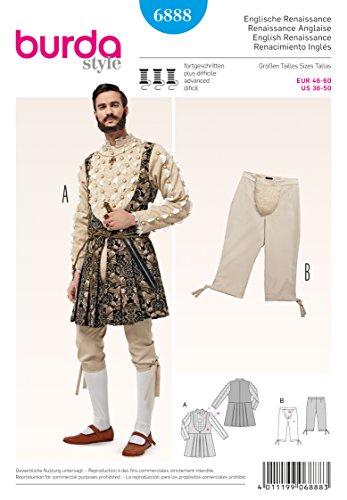 Burda 6888 Herren Schnittmuster Historisches Kostüm: Jacke und Kniebundhose, Gr. ()