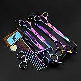 Juego de tijeras de aseo para mascotas con forma de perro, rectas, curvadas, entrelazadas, peinadas, cepillos hemostáticos, borde afilado, kit de herramientas para cortar el pelo, tijeras para el cuidado del pelo de mascotas